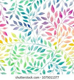 Pattern seamless hand drawing with watercolor leaf or leaves. Raibow coloring