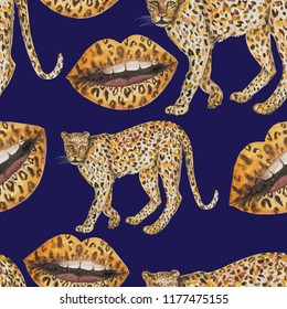 pattern seamless leopard panther background beast carnivorous beast lips lipstick makeup paint