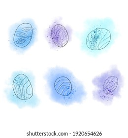 Pattern. Set of elements. Hand drawn digital illustration made with watercolor and charcoal pencil. Artistic blue stouns or fantastic dinosaur eggs on a white background.