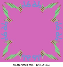 Pattern  of slippers , bows,  halftone . Hand drawn.