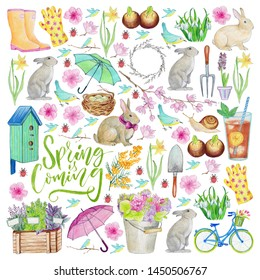 Pattern with spring icons for gardening and easter. Rabbit, watering can, flowers, umbrella, bicycle