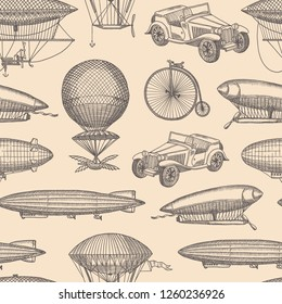 pattern with steampunk hand drawn airships,
