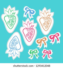 Pattern of  strawberry , bows, leaves, spirals, dashed lines, labels. Hand drawn.