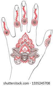 Pattern in the style of mehendi drawn by hand. Hand with the image of mehendi. Tattoo idea