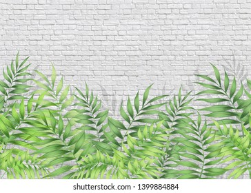 Pattern of summer tropical leaves. Horizontal pattern.Silhouettes of leaves, plants against a brick wall.