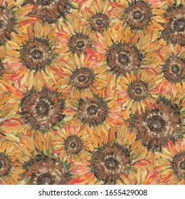 A pattern with a sunflower. flower sunflower. Oil painting. Textiles, wallpaper, wrapping paper. Color.