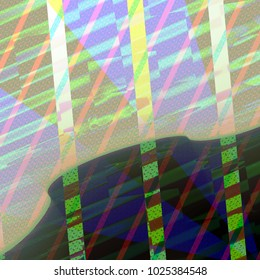 Pattern textured stripes and ripples resembling digital island with sky covered with mirrors