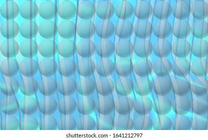 Pattern of transparent balls over waves backlight.