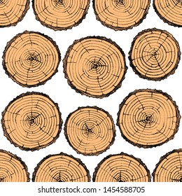 Pattern of tree cuts on a white background. Graphic drawing.