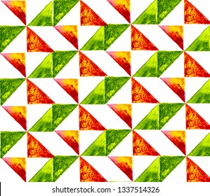 Pattern with triangle tiles hand drawn by watercolor on white background. Red and green mosaic