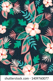 pattern of tropical hibiscus flower and palm leaves on a dark paper background