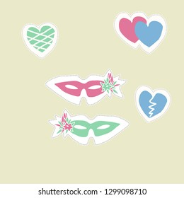 Pattern with venetians masks,flowers, hearts, dashed line, label. Hand drawn.