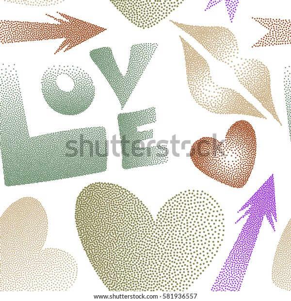 Pattern in violet and green colors on a white background. Valentine's day theme. Seamless pattern with arrow, hearts, kiss, lips, love text in dots.