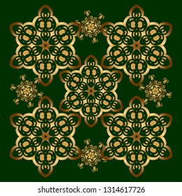Pattern for wallpapers, backgrounds, flyers or wrapping paper. Seamless pattern with damask ornament. Seamless golden ornament in arabian style on a green background.