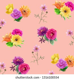 Pattern with watercolor colorful summer flowers.Yellow poppy,orange gerbera,pink rose,purple astra.