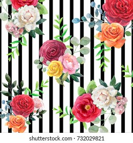 Pattern with watercolor flowers and black stripes. Orange,red, yellow roses,white and pink peonies,leaves with black stripes on white.Floral compositions in trend style for textile,wallpaper,wrapping.