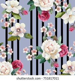 Pattern with watercolor flowers with black stripes.