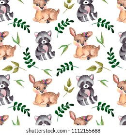 pattern with watercolor forest animals, flower and leaves