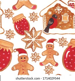 Pattern of watercolor gingerbread cookies for the New Year and Christmas theme. Watercolor hand drawn illustration