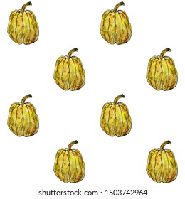 Pattern of watercolor hand drawn illustration pumpkins. Template for design harvest , Halloween