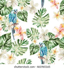 Pattern with watercolor realistic flowers plumeria, alstroemeria and parrot. Illustration.
