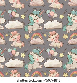 Pattern in watercolor style with cute unicorns, clouds,rainbow and stars. Magic background with little unicorns.