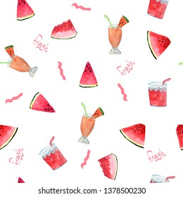 Pattern with watermelon  and  cocktails with the words Fresh on a white background. watercolor illustration of hand drawing for design of cards, print, fabrics, banners.