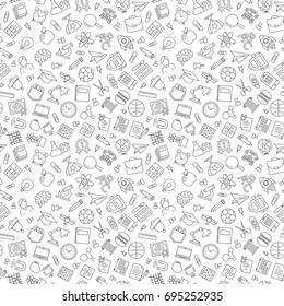 Pattern of welcome back to school with modern thin line icons school supplies on white background. Back To School Background. Super sale.