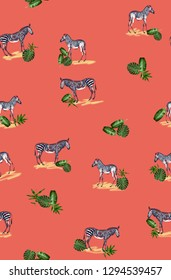 Pattern with wild animal zebra print, silhouette on coral background. Seamless tropical monstera, palm, banana, bamboo leaves and flowers pattern, jungle print design.
