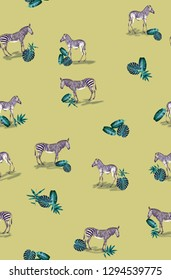 Pattern with wild animal zebra print, silhouette on yellow background. Seamless tropical monstera, palm, banana, bamboo leaves and flowers pattern, jungle print design.