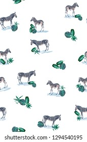 Pattern with wild animal zebra print, silhouette on white background. Seamless tropical monstera, palm, banana, bamboo leaves and flowers pattern, jungle print design.