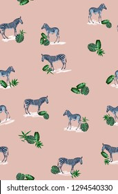 Pattern with wild animal zebra print, silhouette on light pink background. Seamless tropical monstera, palm, banana, bamboo leaves and flowers pattern, jungle print design.