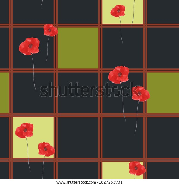 Pattern of wild poppies with red flowers and green and yellow squares in a red cell on the black background. Watercolor