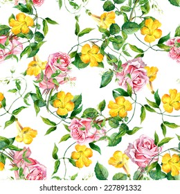 Pattern with yellow flowers and roses. Repeating floral pattern. Watercolor