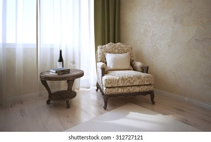 Patterned coffe table of dark oak and soft armchair with cushion near window in classic room. Light parquet, wall of decorated venetian plaster.3D render