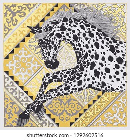Patterned head of the horse on the grunge background. African / totem / tattoo design. It may be used for design of a t-shirt, bag, postcard, a poster and so on