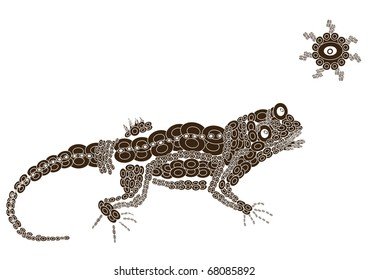 patterned lizard in the ethnic style of rejoicing sunlight (raster version)