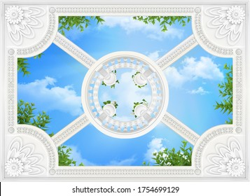 Patterned wallpapers on the ceiling with a round balustrade on top 3d rendering