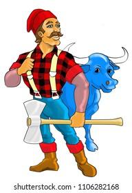 Paul Bunyan with blue ox