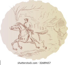 Paul Revere riding his horse to warn Americans of the British