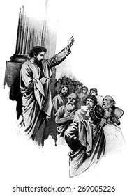 "Paul told the philosophers of the Athens that ""Lord of heaven and earth dwelleth not in temples made with hands"", vintage engraved illustration."