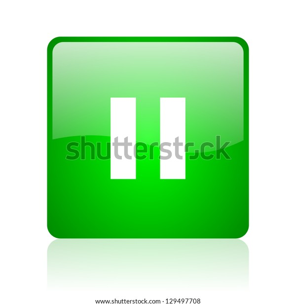 pause green square web icon on white background