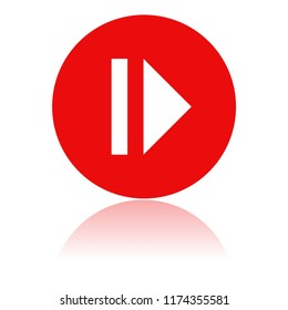 PAUSE icon. Round red icon with reflection. Illustration on white background. Raster version