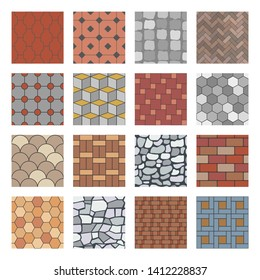 Paving stone pattern. Brick paver walkway, rock stones slab and street pavement floor block. Architectural elements, garden stones floor road. Seamless isolated  patterns set