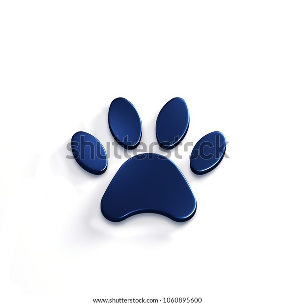 Paw Pet Blue Color. 3D Render Illustration