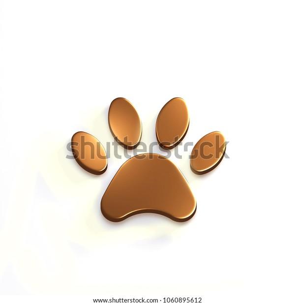 Paw Pet Bronze Color. 3D Render Illustration