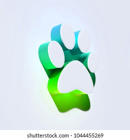 Paw of Pet Icon on the Aqua Wall. 3D Illustration of White Animal, Dog, Foot, Paw, Pet, Pets, Print Icons With Aqua and Green Shadows.
