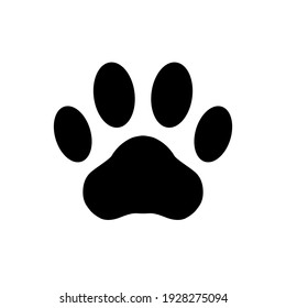 Paw print. Foot puppy isolated on white background. Dog or cat vector, icon. Footprint pet. Black silhouette paw. Cute shape paw print. Design prints. Animal track. Trace foot dog, cat. Illustration