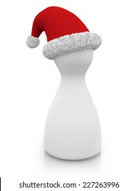 pawn with santa's hat isolated on white background