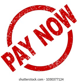 An pay now red ink stamp on a white background